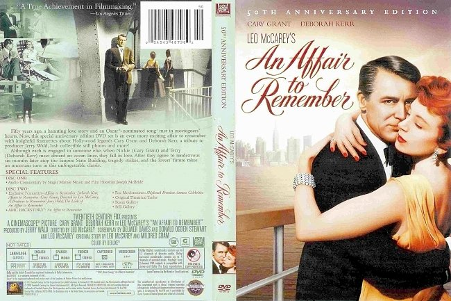 dvd cover An Affair To Remember - 50TH Anniversary Edition 1957 Dvd Cover