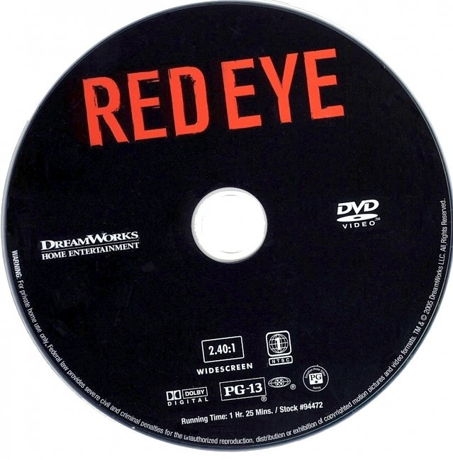 dvd cover Red Eye 2005 R1 Disc Dvd Cover