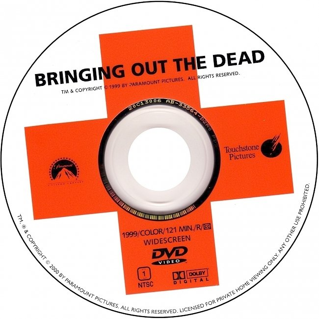 dvd cover Bringing Out The Dead 1999 R1 Disc Dvd Cover