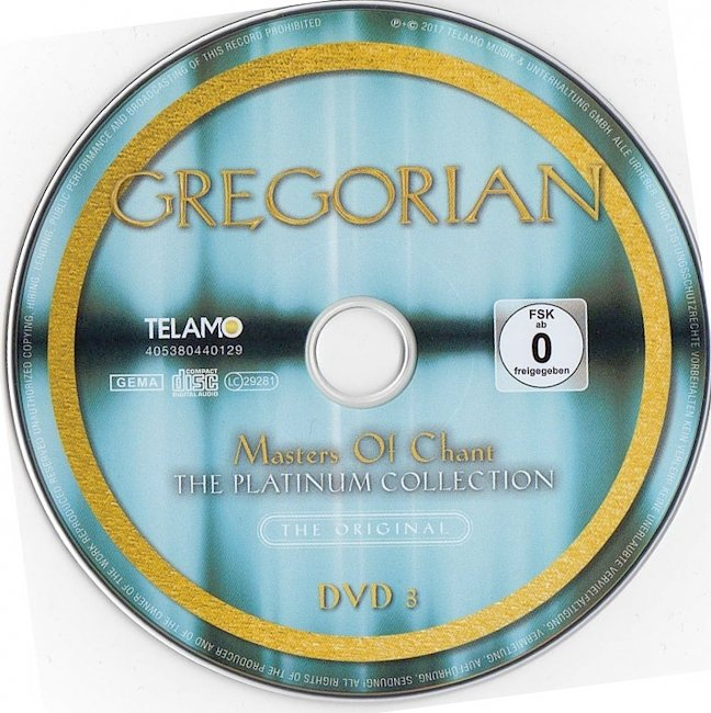 dvd cover Gregorian - Masters Of Chant - The Platinum Collection 2017 Dvd Cover