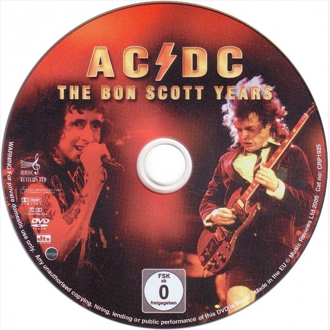 dvd cover AC/DC - The Bon Scott Years 2005 Dvd Cover