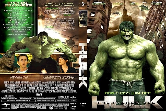 dvd cover The Incredible Hulk 2008 Dvd Cover