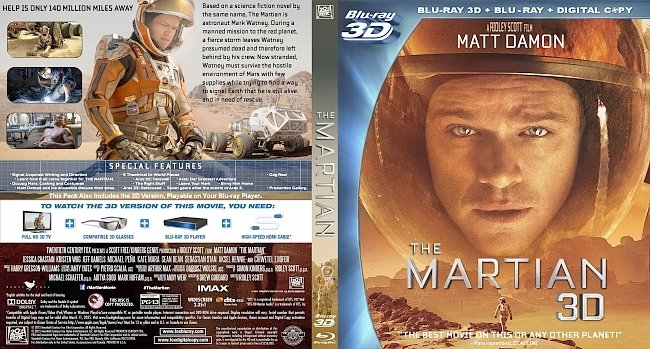 dvd cover The Martian 2015 WS R1 3D Dvd Cover